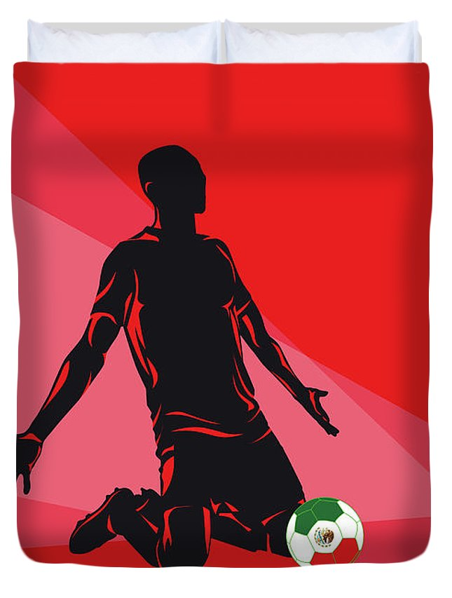 World Duvet Cover featuring the digital art No13 My 1986 Mexico Soccer World Cup Poster by Chungkong Art