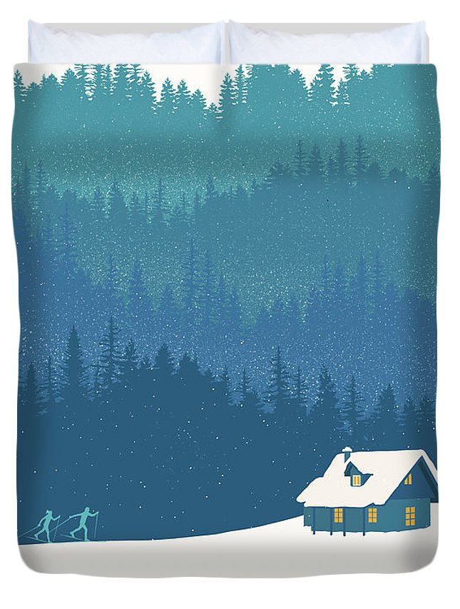 Nordic Ski Duvet Cover featuring the painting Nordic Cross Country Winter Ski Scene by Sassan Filsoof
