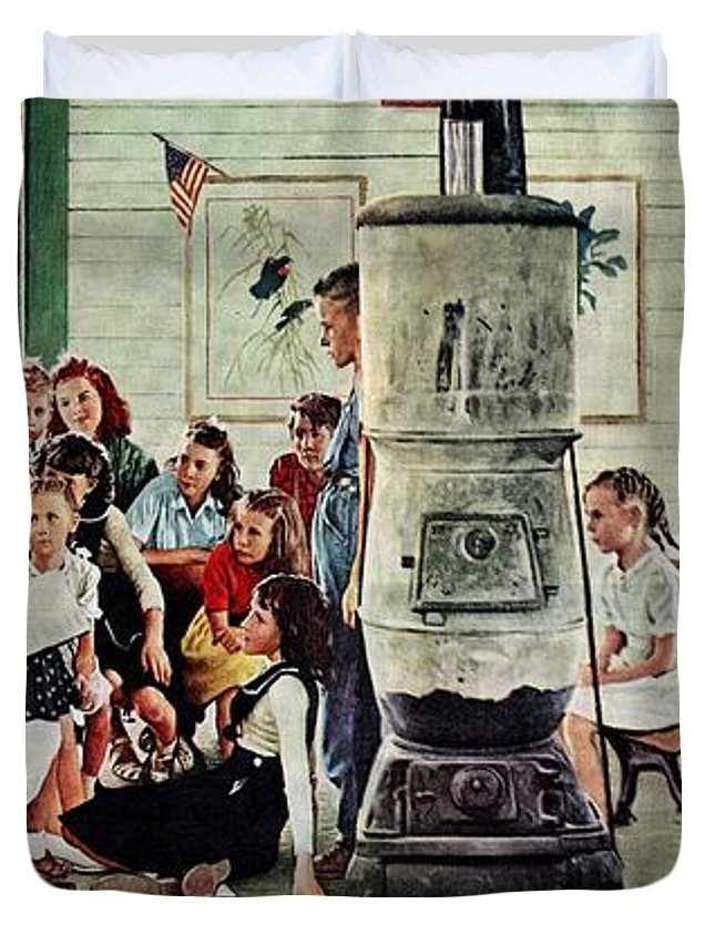 Book Duvet Cover featuring the drawing Norman Rockwell Visits A Country School by Norman Rockwell