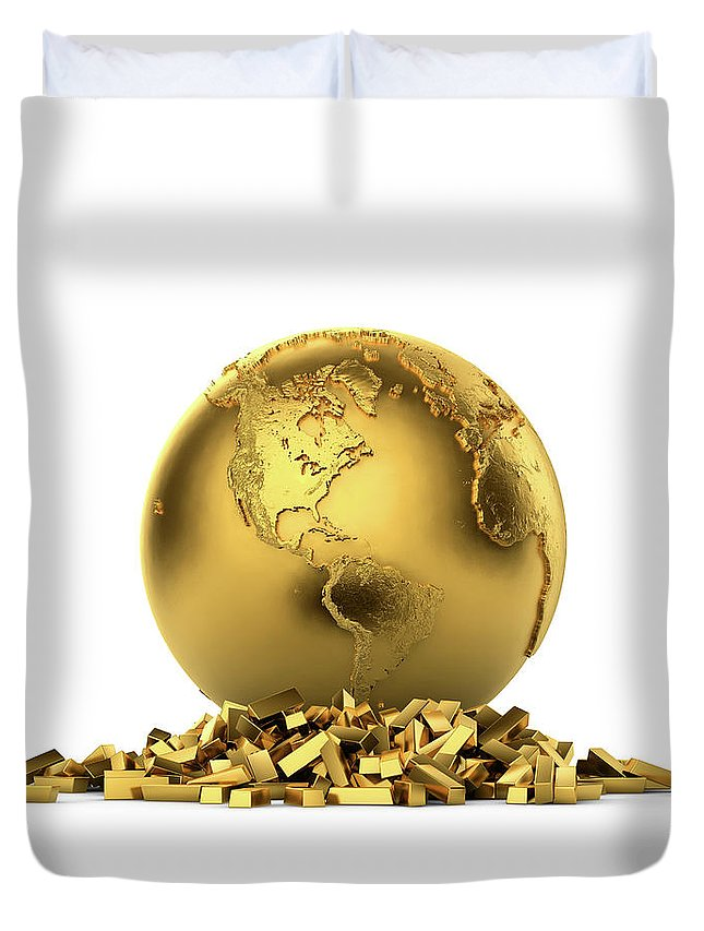 White Background Duvet Cover featuring the digital art North And South America With Gold Bars by Bjorn Holland