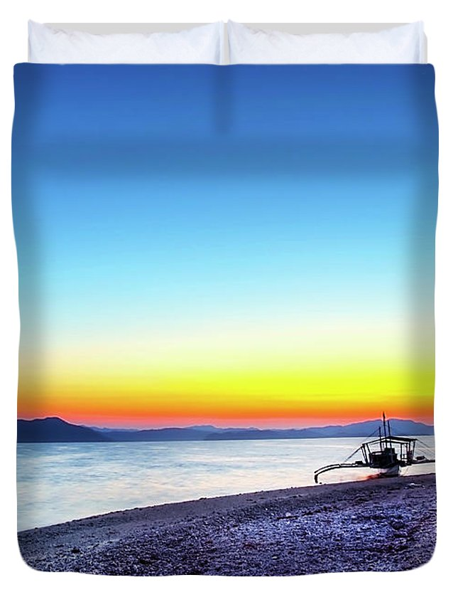Water's Edge Duvet Cover featuring the photograph North Cay Island, Palawan, Philippines by Tomasito!