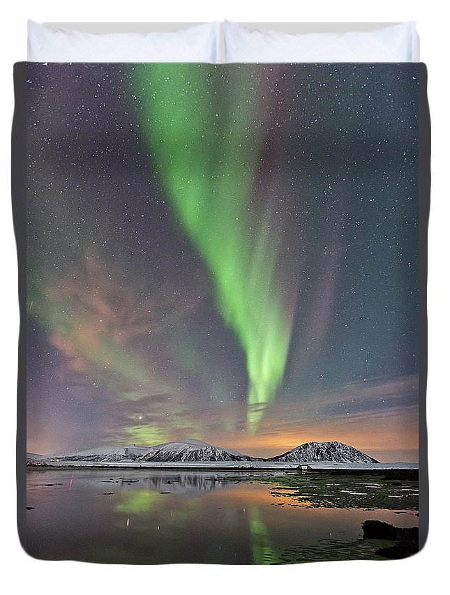 Scenics Duvet Cover featuring the photograph Norway Sky by By Frank Olsen, Norway
