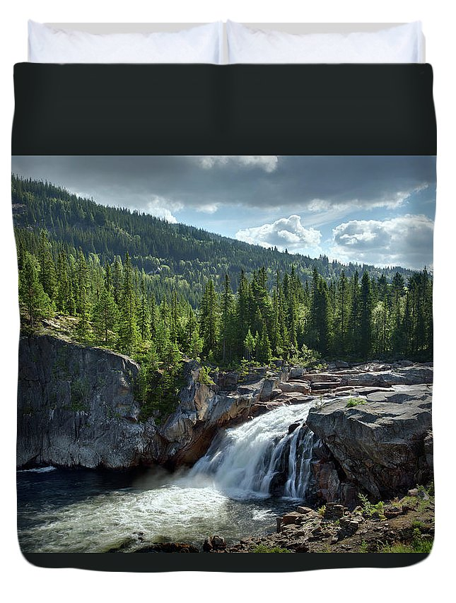 Scenics Duvet Cover featuring the photograph Norway Waterfall by Ralph Oechsle