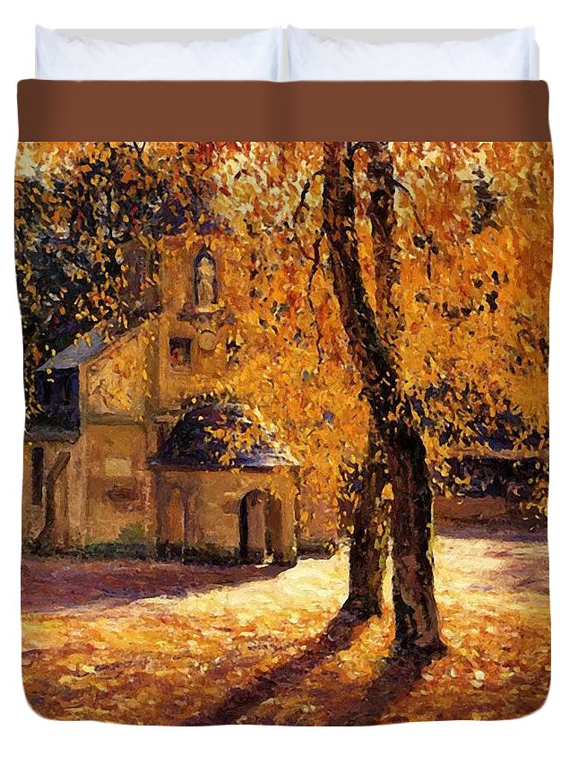 Notre Duvet Cover featuring the painting Notre Dame De Grace Honfleur by Guy Rose