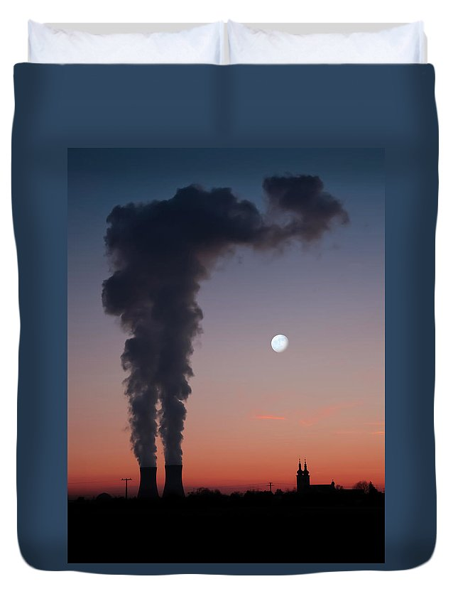 Air Pollution Duvet Cover featuring the photograph Nuclear Power Station In Bavaria by Michael Kohaupt