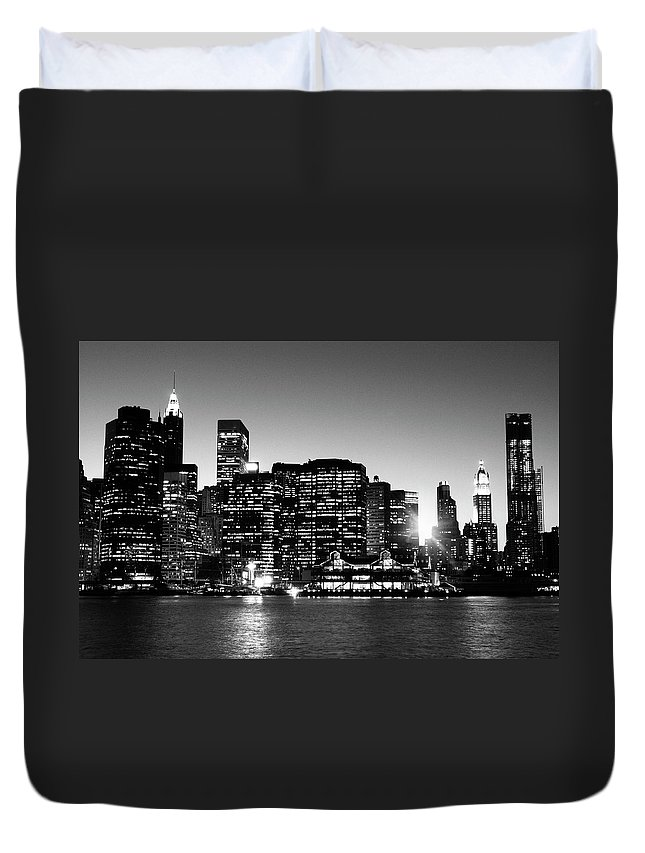Lower Manhattan Duvet Cover featuring the photograph Nyc Skyline At Sunset by Lisa-blue