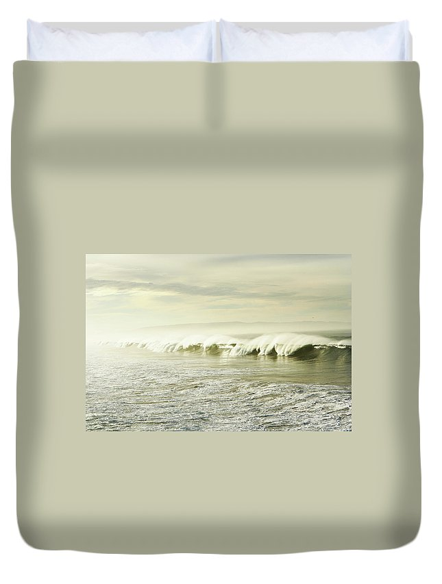 Pismo Beach Duvet Cover featuring the photograph Ocean At Sunrise by Kevinruss