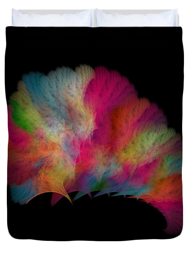 Render Duvet Cover featuring the digital art Ocean Fan Coral Detailed Fractal by Betsy Knapp