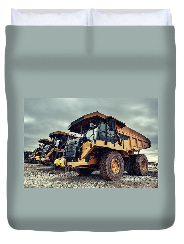 Construction Machinery Duvet Cover featuring the photograph Off-highway Dump Trucks by Shaunl