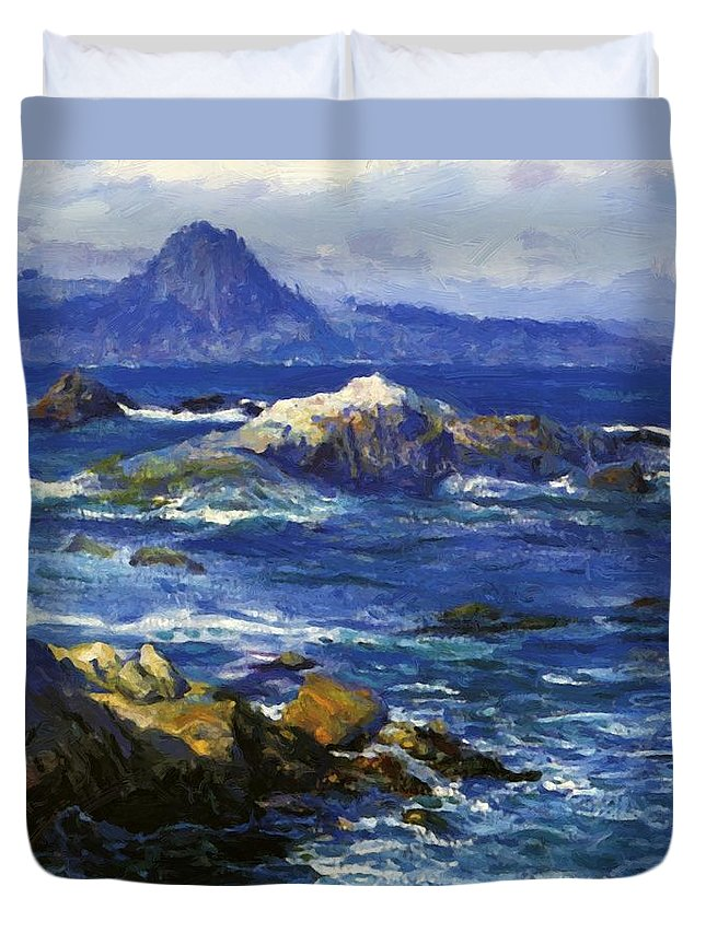 Off Duvet Cover featuring the painting Off Mission Point Aka Point Lobos by Guy Rose