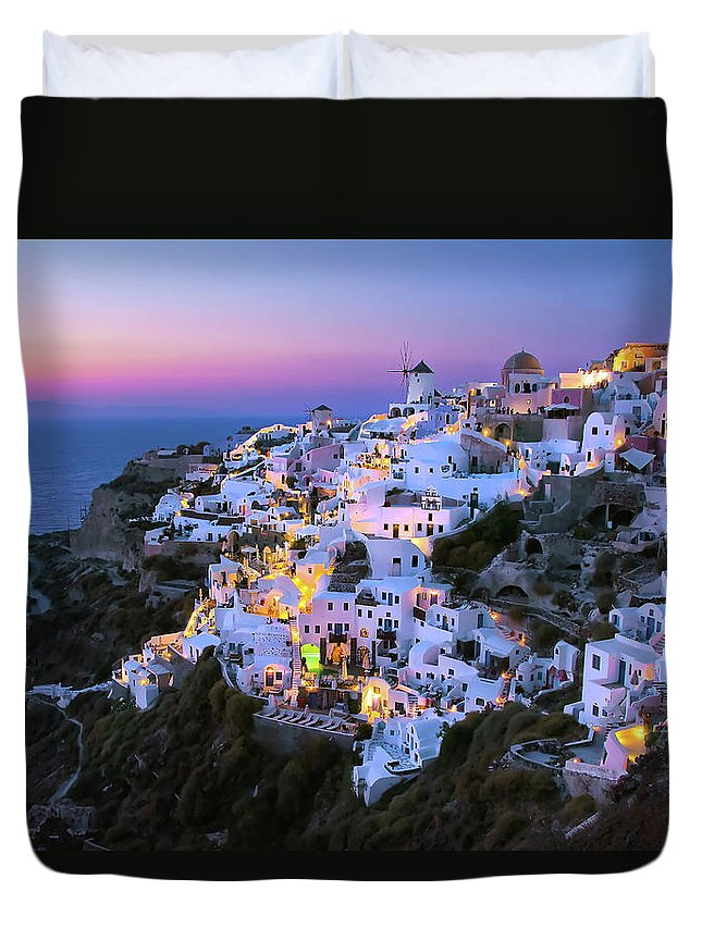 Greek Culture Duvet Cover featuring the photograph Oia Lights At Sunset by Greg Gibb Photography