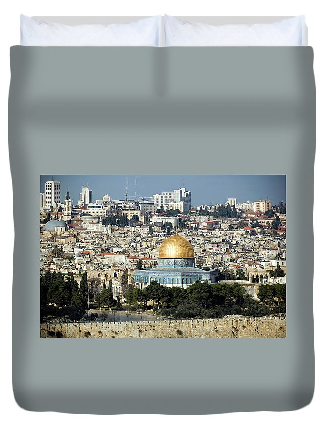 Scenics Duvet Cover featuring the photograph Old City Of Jerusalem by Claudiad