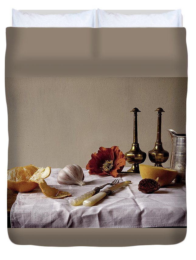 Orange Duvet Cover featuring the photograph Old Kitchen Still Life by Pch