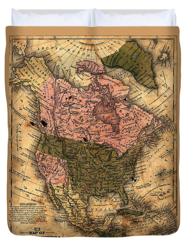 Outdoors Duvet Cover featuring the photograph Old North America Map by Belterz