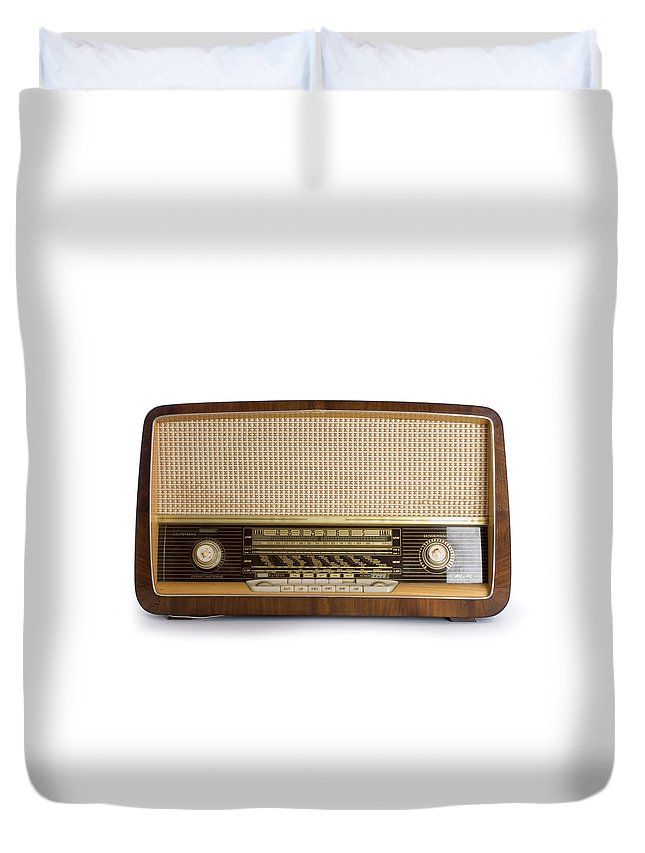 White Background Duvet Cover featuring the photograph Old Radio by Claudiad