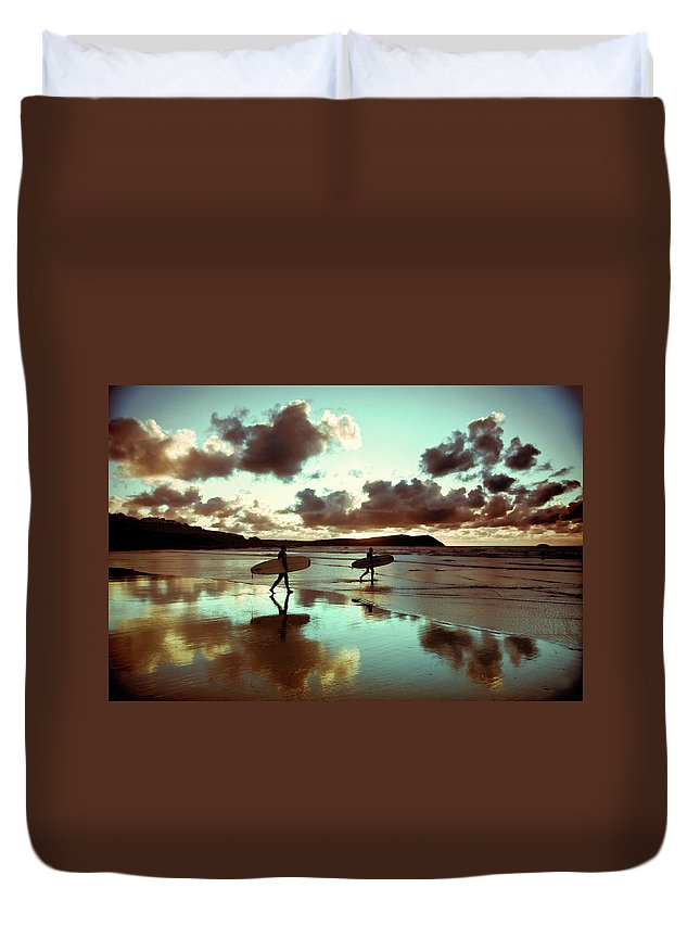 Water's Edge Duvet Cover featuring the photograph Old Skool Surf by Landscapes, Seascapes, Jewellery & Action Photographer