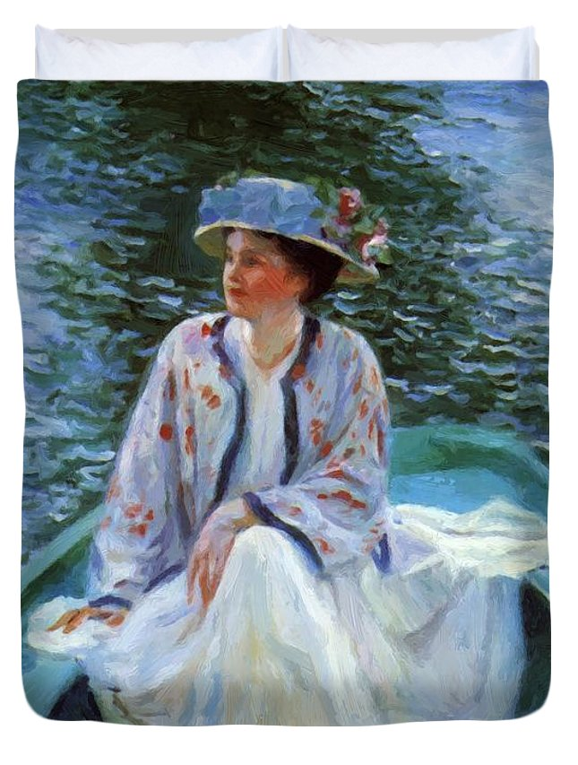 On Duvet Cover featuring the painting On The River Edge 1910 by Guy Rose