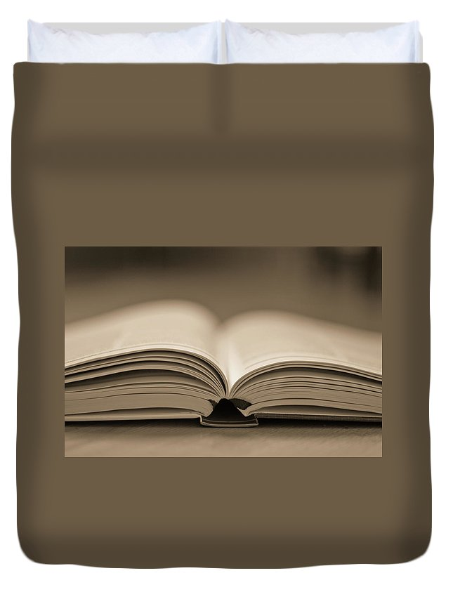 Education Duvet Cover featuring the photograph Open Text Book by Simon Vogt
