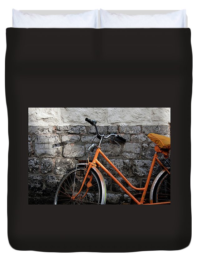 Netherlands Duvet Cover featuring the photograph Orange Bike by If I Were Going Photography - Leonie Poot