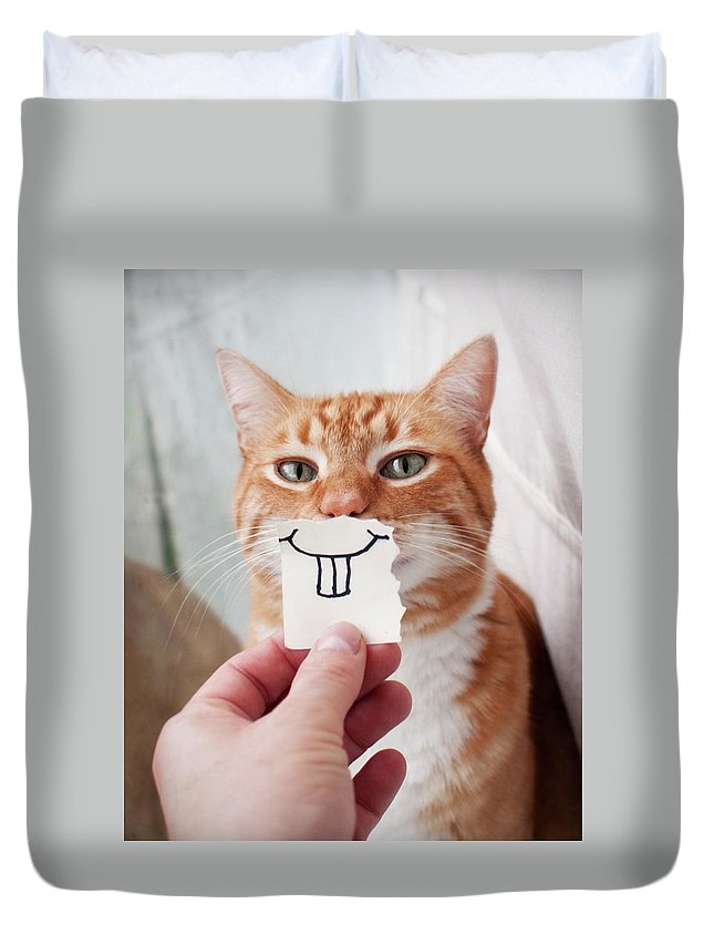 Pets Duvet Cover featuring the photograph Orange Cat Face by Jtsiemer