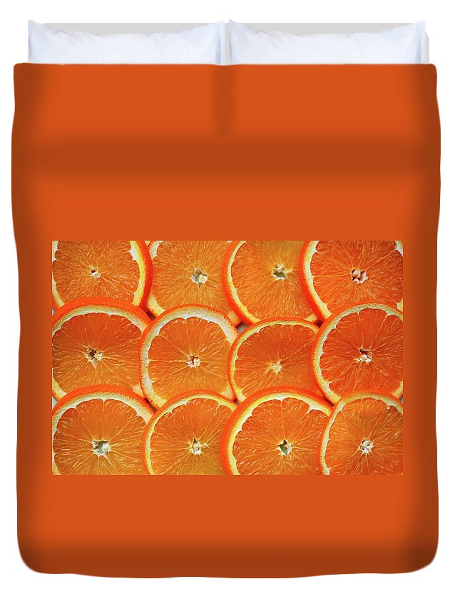 Orange Color Duvet Cover featuring the photograph Orange Fruit Slices by D. Sharon Pruitt Pink Sherbet Photography