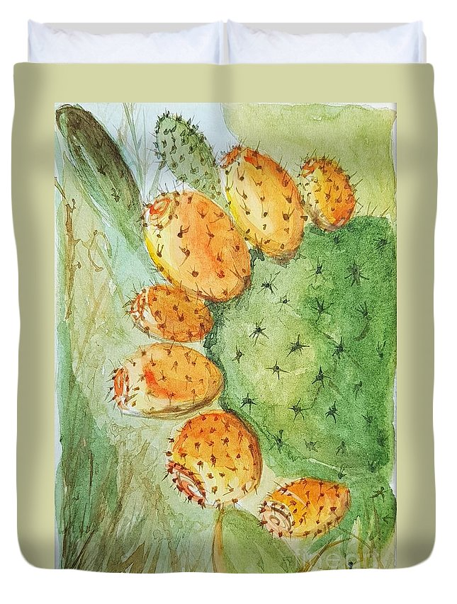 Duvet Cover featuring the painting Orange Pricky Pear Cactus by Paola Baroni