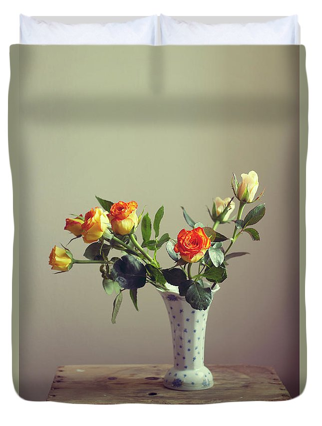 Orange Color Duvet Cover featuring the photograph Orange Roses In Vintage Vase by Copyright Anna Nemoy(xaomena)