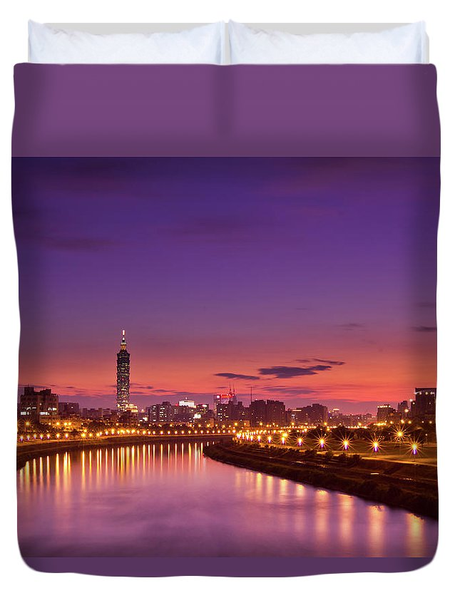 Orange Color Duvet Cover featuring the photograph Orange Sunset by © Copyright 2011 Sharleen Chao
