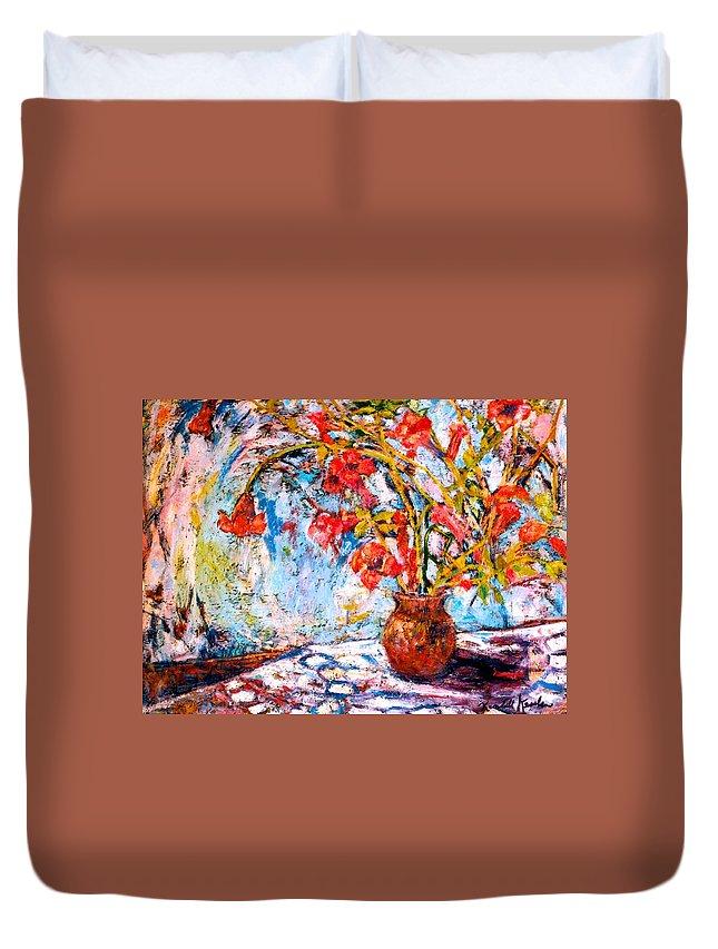 Trumpet Flowers Duvet Cover featuring the painting Orange Trumpet Flowers by Kendall Kessler