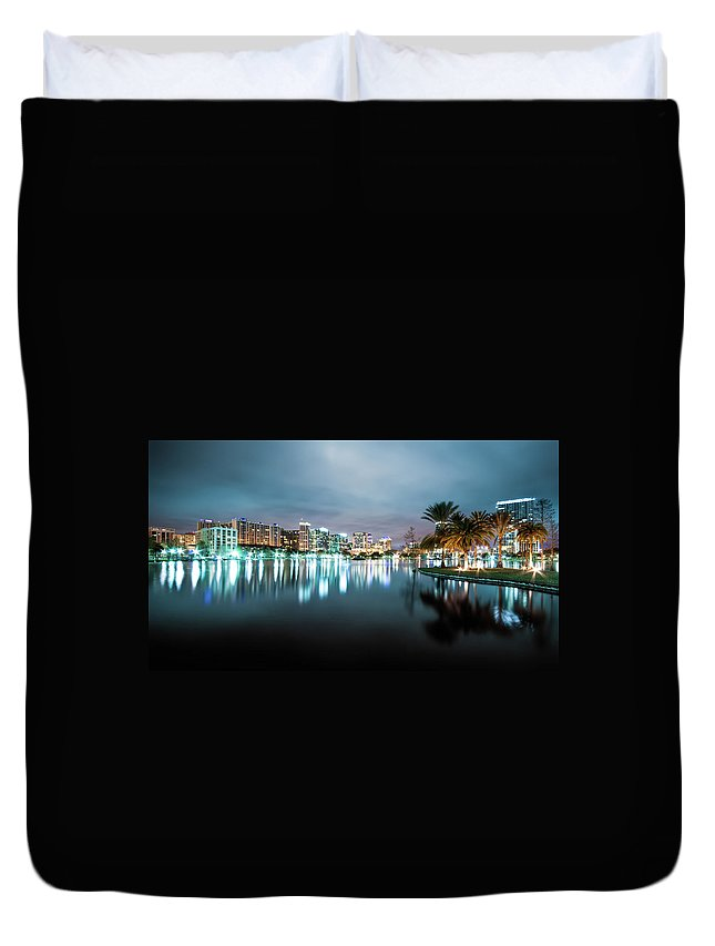Outdoors Duvet Cover featuring the photograph Orlando Night Cityscape by Sky Noir Photography By Bill Dickinson