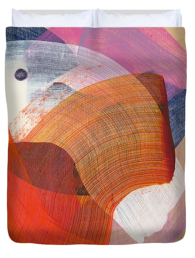 Abstract Duvet Cover featuring the painting Out Of The Blue 01 by Claire Desjardins