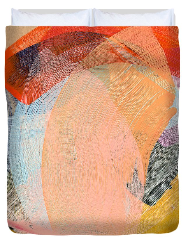 Abstract Duvet Cover featuring the painting Out Of The Blue 02 by Claire Desjardins