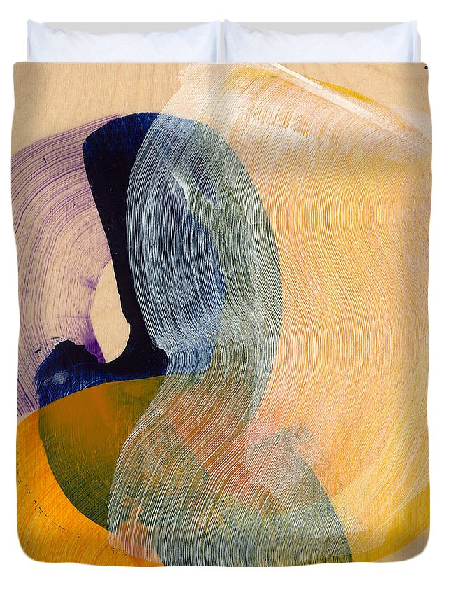 Abstract Duvet Cover featuring the painting Out Of The Blue 04 by Claire Desjardins