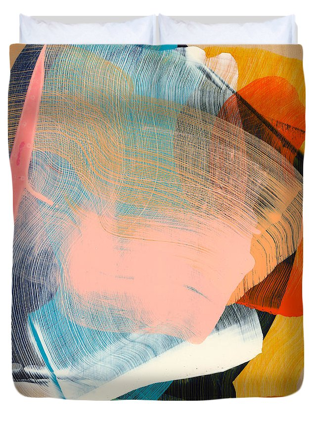 Abstract Duvet Cover featuring the painting Out Of The Blue 06 by Claire Desjardins