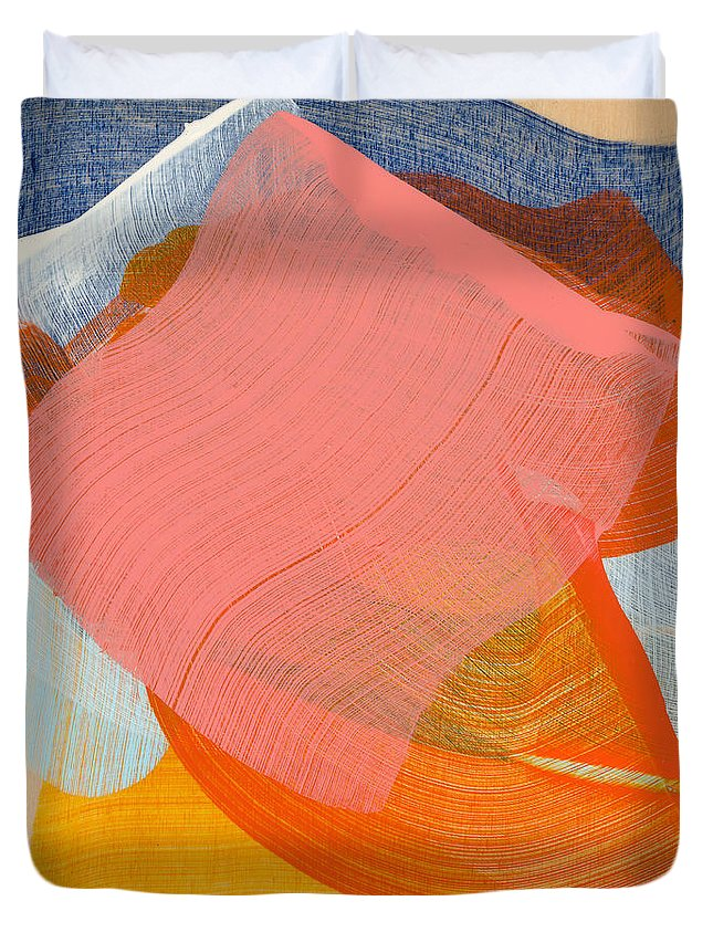 Abstract Duvet Cover featuring the painting Out Of The Blue 10 by Claire Desjardins