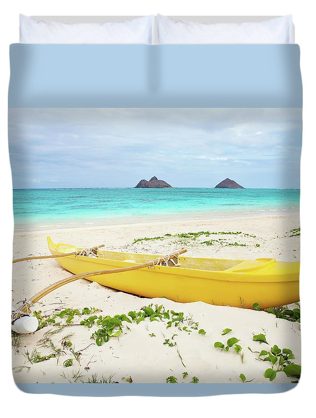 Scenics Duvet Cover featuring the photograph Outrigger Canoe Lanikai Beach by M Swiet Productions