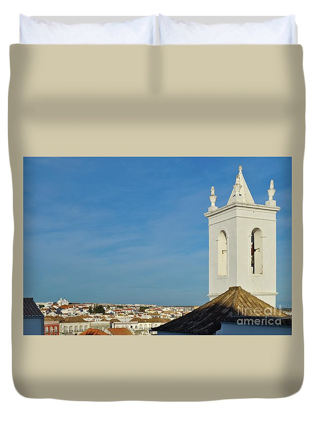 Overview Duvet Cover featuring the photograph Overview Of Tavira City. Portugal by Angelo DeVal