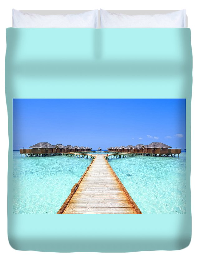 Beach Hut Duvet Cover featuring the photograph Overwater Bungalows Boardwalk by Cinoby