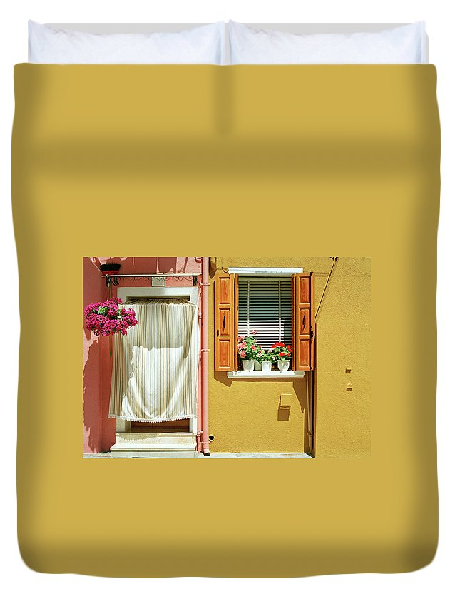 Hanging Duvet Cover featuring the photograph Painted House In Burano by Terraxplorer
