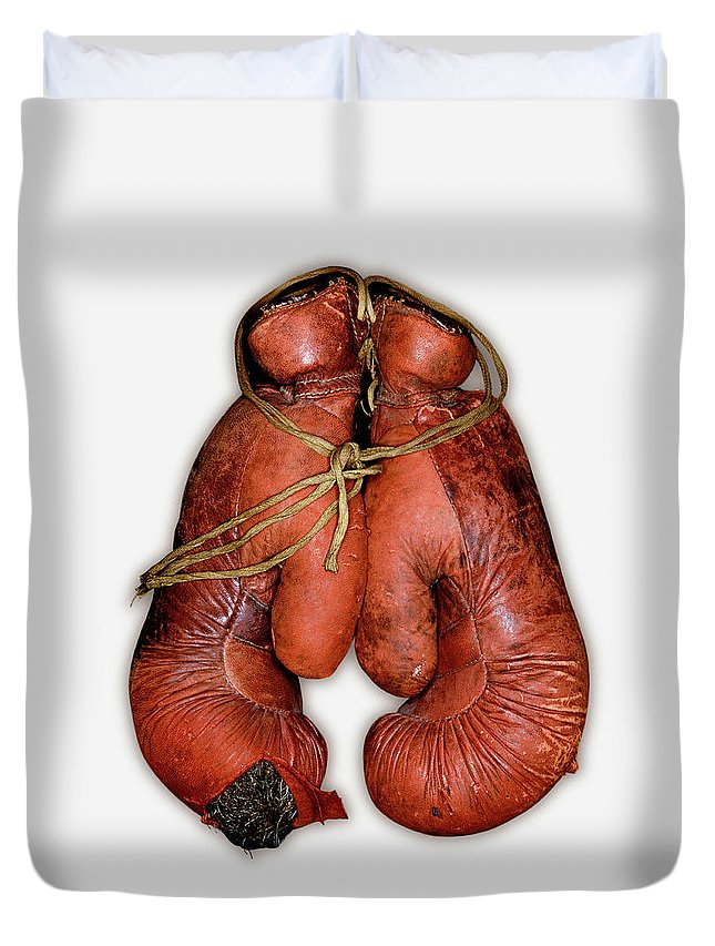 White Background Duvet Cover featuring the photograph Pair Of Boxing Gloves, Close-up by John Rensten