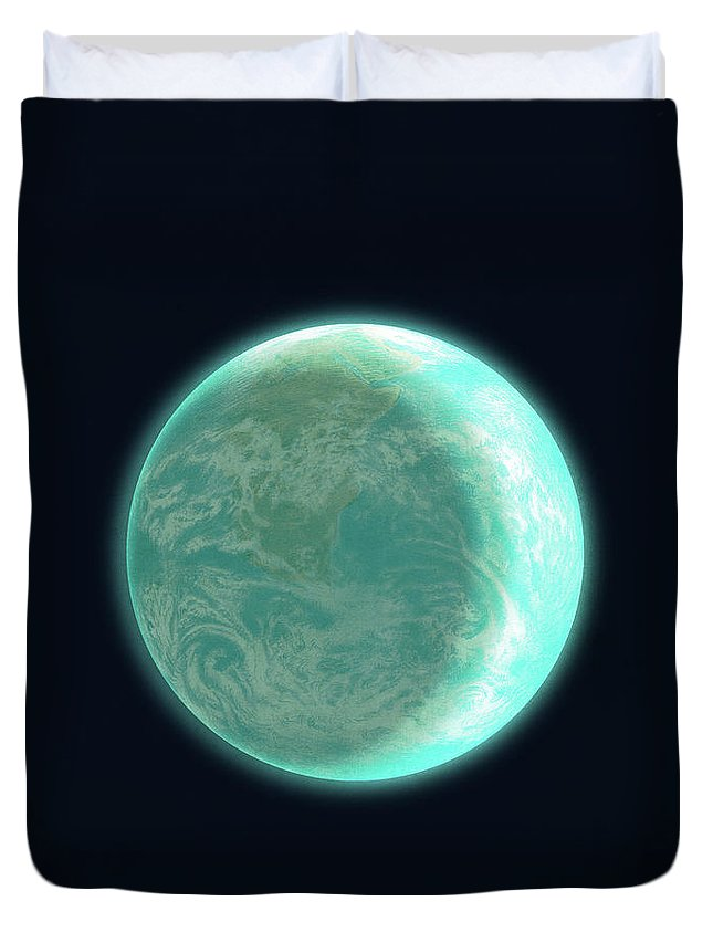 Space Duvet Cover featuring the drawing Pale Blue Dot by Eric Fan