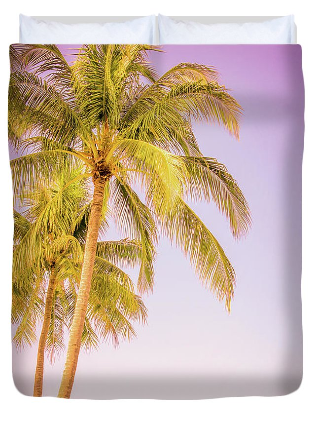 Palm Trees Duvet Cover featuring the photograph Palm Trees And Pink Sky by Delphimages Photo Creations