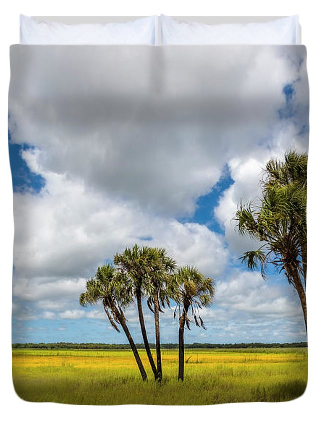 Photography Duvet Cover featuring the photograph Palm Trees In The Field Of Coreopsis by Panoramic Images