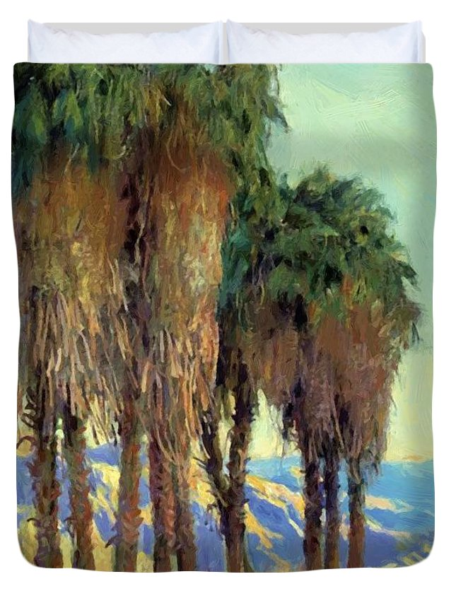 Palms Duvet Cover featuring the painting Palms by Guy Rose