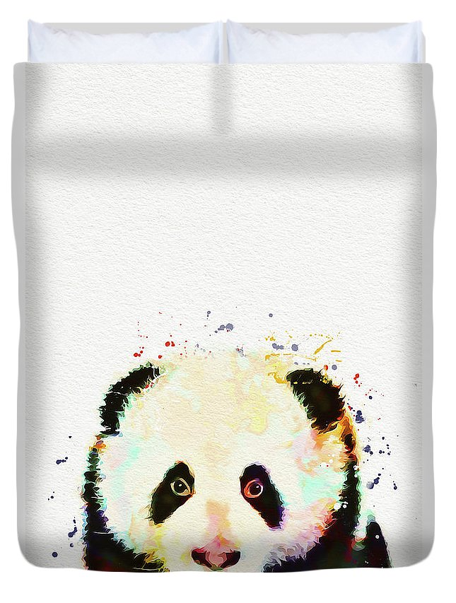 Panda Duvet Cover featuring the painting Panda Watercolor by Nikolay Radkov