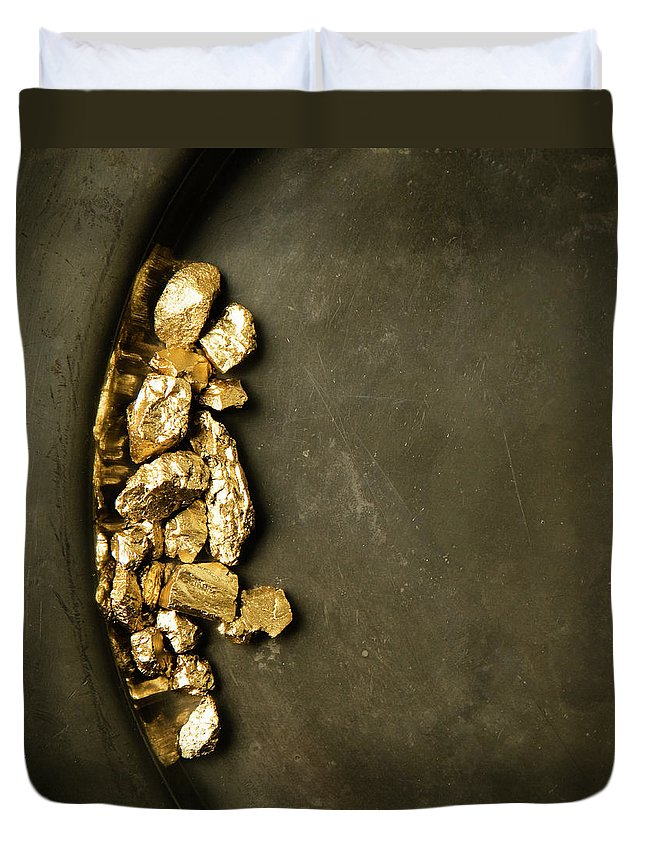 Gold Rush Duvet Cover featuring the photograph Panning For Gold by Joseph Clark