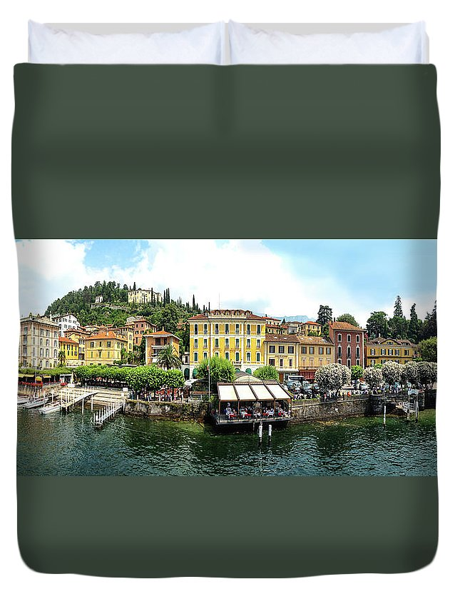 Tranquility Duvet Cover featuring the photograph Panorama Of Bellagio From Lake Como by Melinda Moore