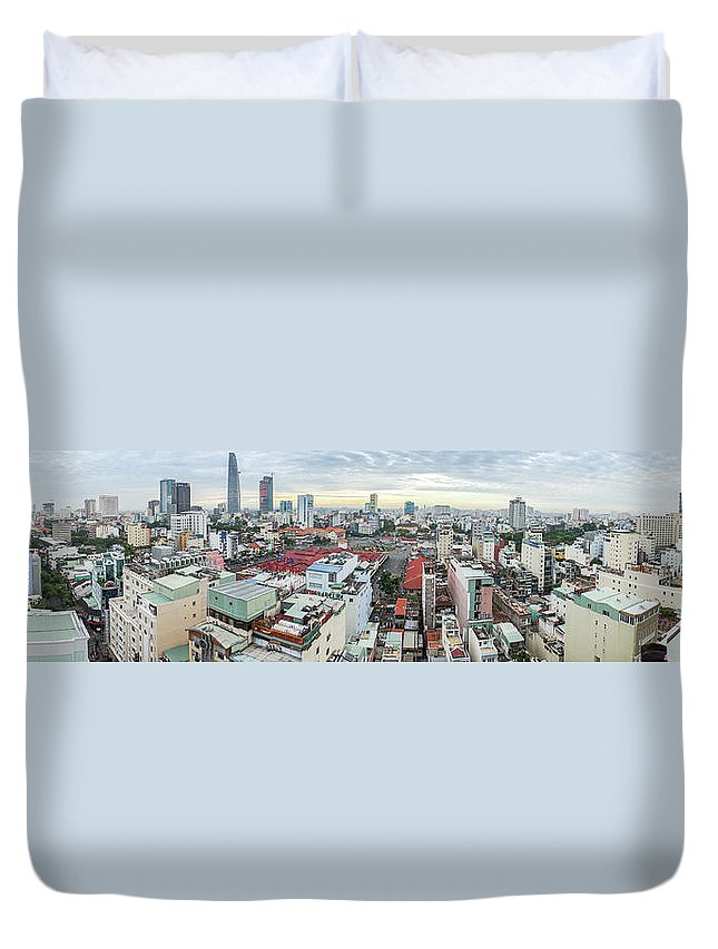 Ho Chi Minh City Duvet Cover featuring the photograph Panorama Of Ho Chi Minh City by By Thomas Gasienica