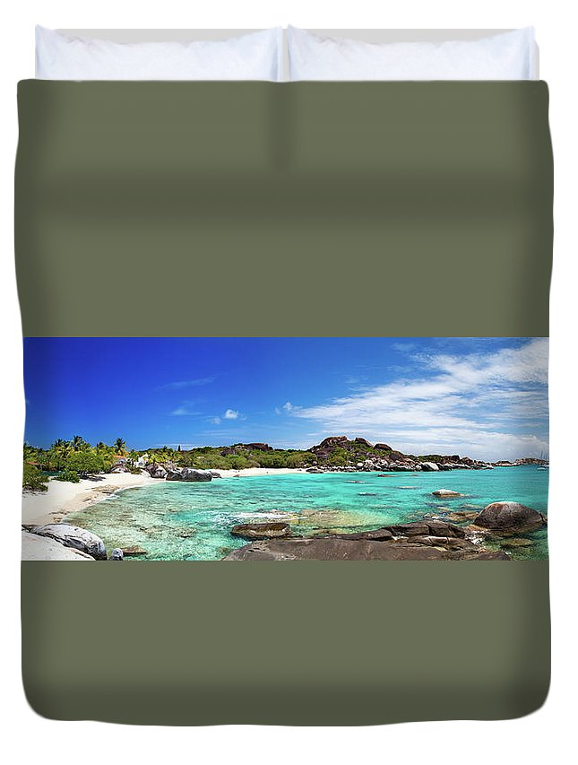 Scenics Duvet Cover featuring the photograph Panorama Of Spring Bay And The Baths by Cdwheatley