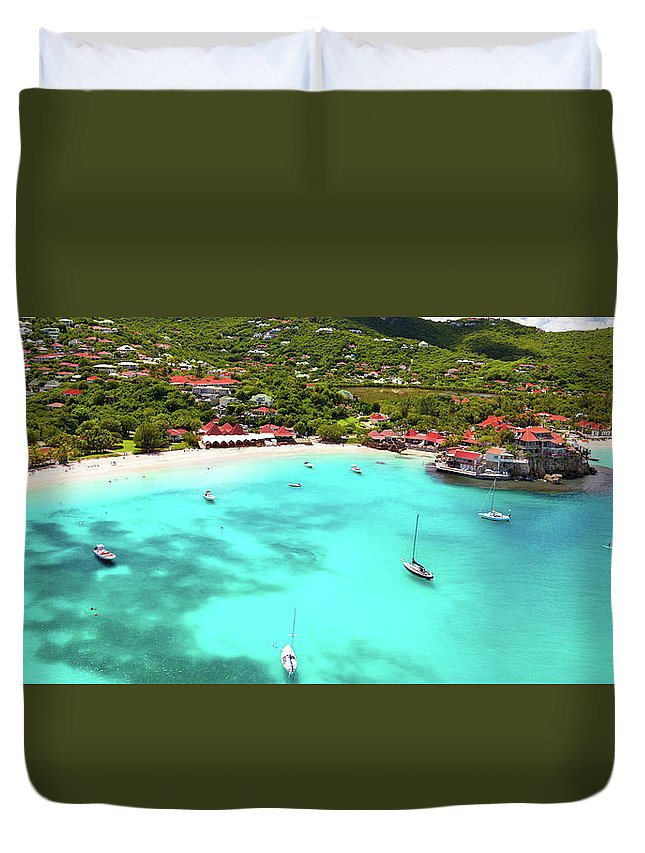 Water's Edge Duvet Cover featuring the photograph Panoramic View Of St.jean Bay In by Cdwheatley